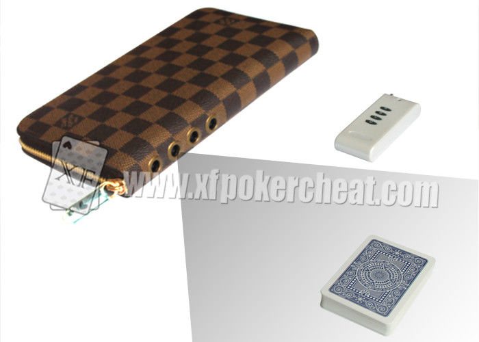 Brown Leather LV Wallet Double Lens Camera For Poker Analyzer 30 - 40cm