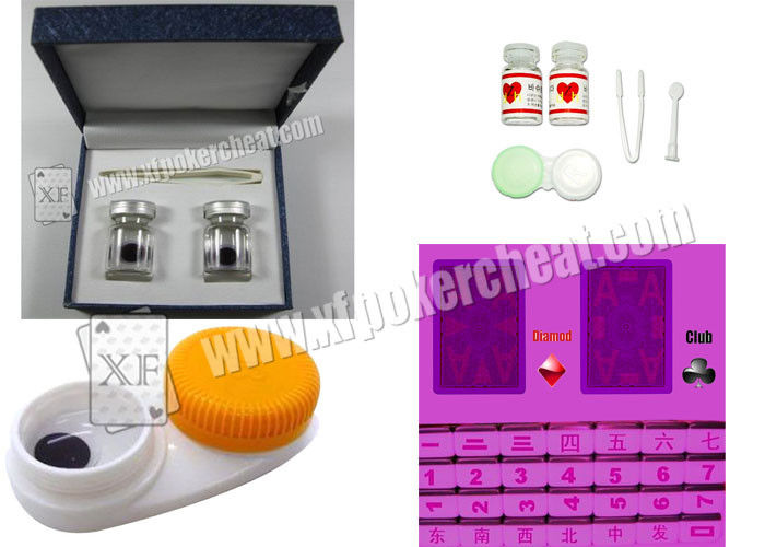 Dark Purple Invisible Ink And Glasses Level C Poker Contact Lenses